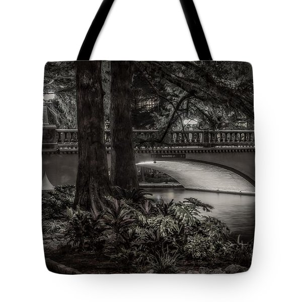 Tote Bag featuring the photograph Navarro Street Bridge At Night by Steven Sparks