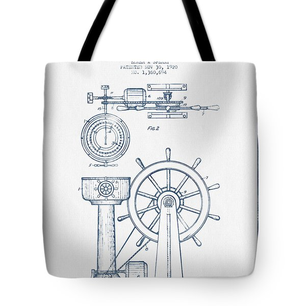 Navigational Apparatus Patent Drawing From 1920  -  Blue Ink Tote Bag