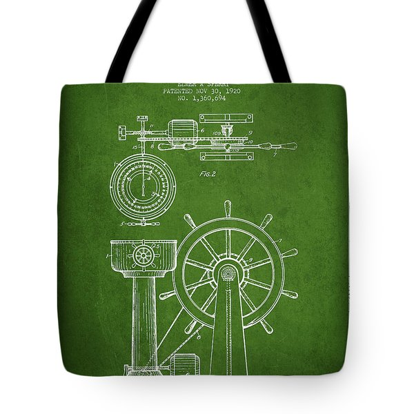 Navigational Apparatus Patent Drawing From 1920 - Green Tote Bag