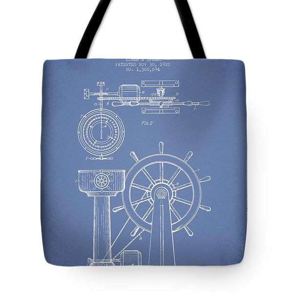 Navigational Apparatus Patent Drawing From 1920 - Light Blue Tote Bag