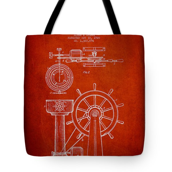 Navigational Apparatus Patent Drawing From 1920 - Red Tote Bag