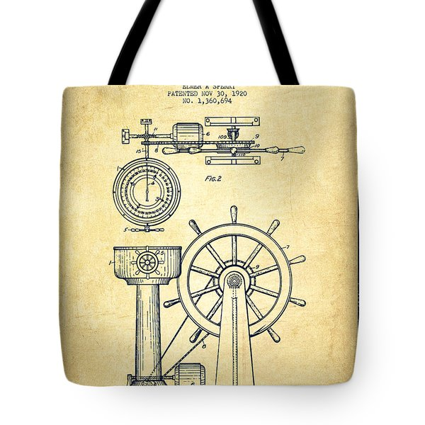 Navigational Apparatus Patent Drawing From 1920 - Vintage Tote Bag