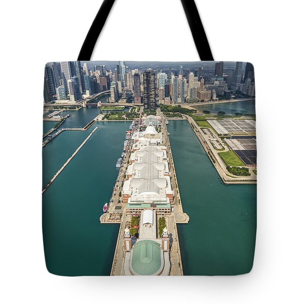 Navy Pier Chicago Aerial Tote Bag by Adam Romanowicz