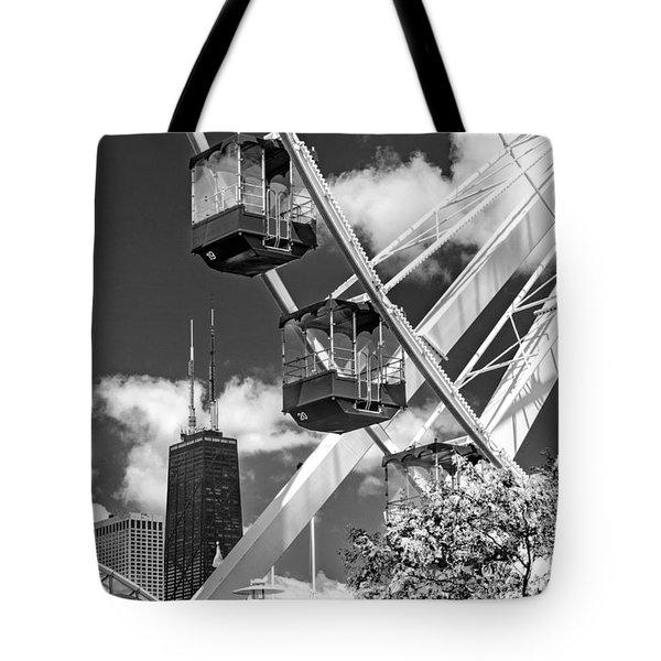 Navy Pier Ferris Wheel Black And White Tote Bag