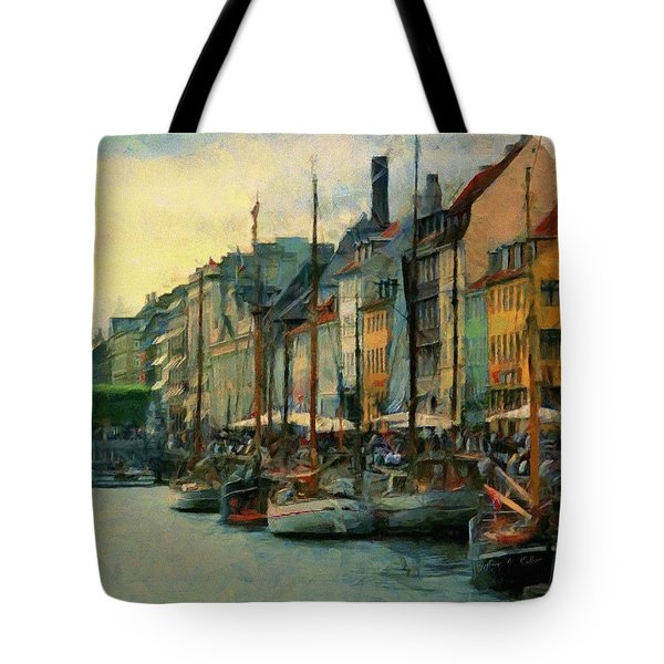 Tote Bag featuring the painting Nayhavn Street by Jeffrey Kolker