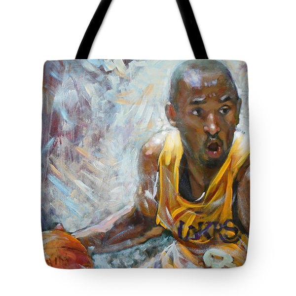 Nba Lakers Kobe Black Mamba Tote Bag by Ylli Haruni