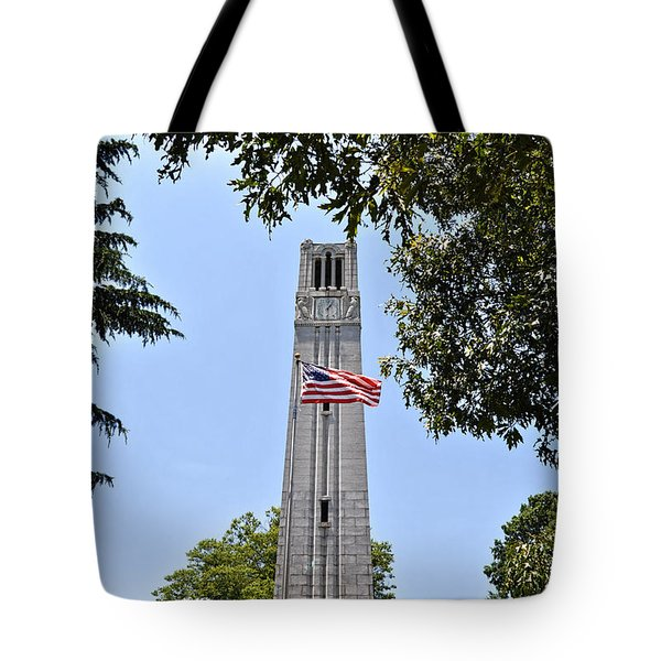 Nc State Memorial Bell Tower And Us Flag Tote Bag