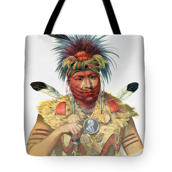 Ne-sou-a-quoit, A Fox Chief, Illustration From The Indian Tribes Of North America, By Thomas L Tote Bag