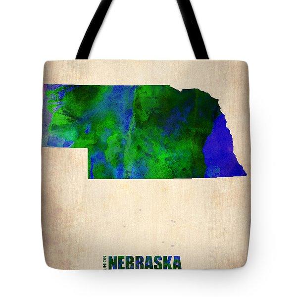 Nebraska Watercolor Map Tote Bag by Naxart Studio