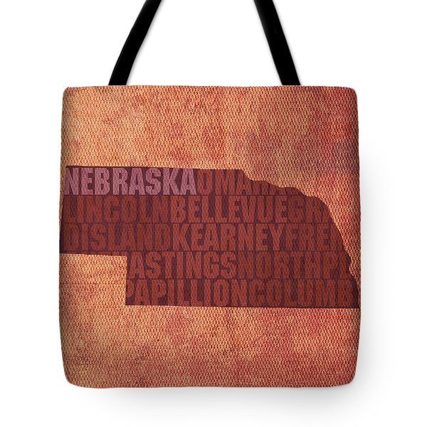 Nebraska Word Art State Map On Canvas Tote Bag