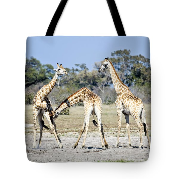 Tote Bag featuring the photograph Necking Giraffes Botswana by Liz Leyden