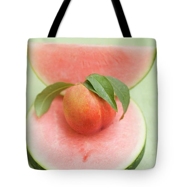 Nectarine With Leaves, Slice And Wedge Of Watermelon Tote Bag