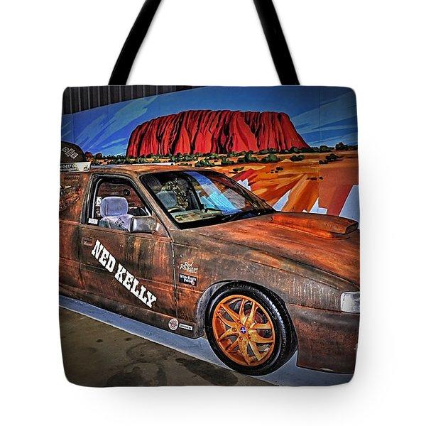 Ned Kelly's Car At Ayers Rock Tote Bag by Kaye Menner