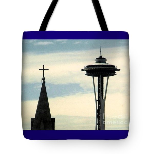 Tote Bag featuring the photograph Seattle Washington Space  Needle Steeple And Cross by Michael Hoard