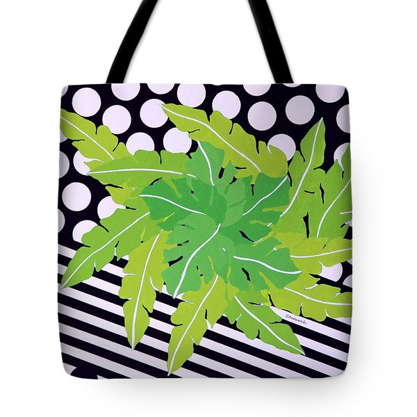 Tote Bag featuring the painting Negative Green by Thomas Gronowski