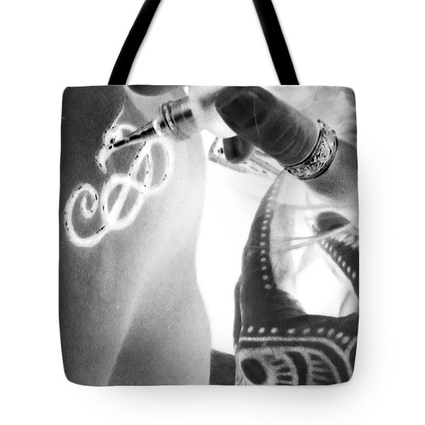 Tote Bag featuring the digital art Negative Henna Hands II by Jennie Breeze