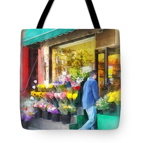 Neighborhood Flower Shop Tote Bag by Susan Savad