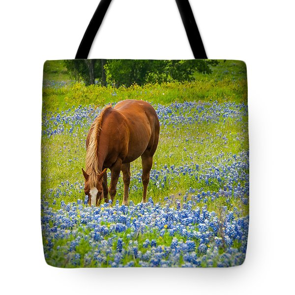 Nelly Grazing Among The Bluebonnets Tote Bag