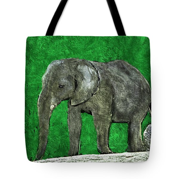 Tote Bag featuring the digital art Nelly The Elephant by Pennie  McCracken