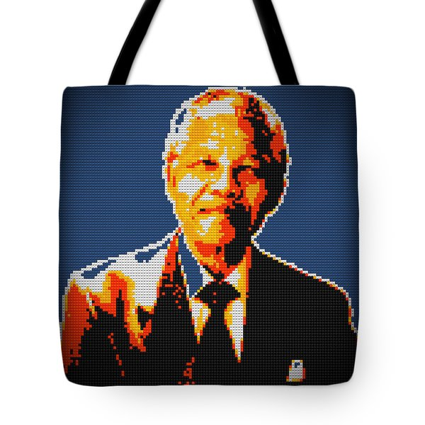 Nelson Mandela Lego Pop Art Tote Bag by Georgeta Blanaru