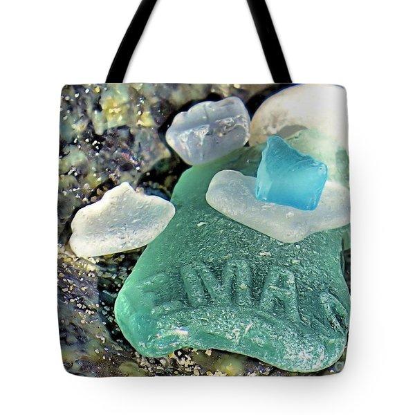 Nemasket Bottle Sea Glass Tote Bag
