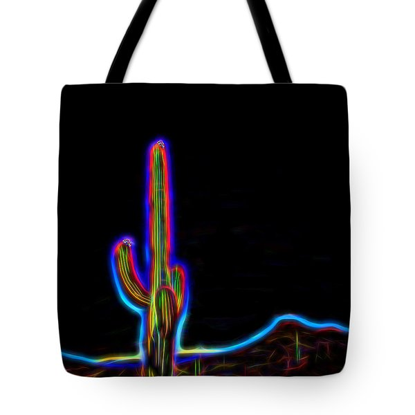 Neon Cactus In Bloom Tote Bag