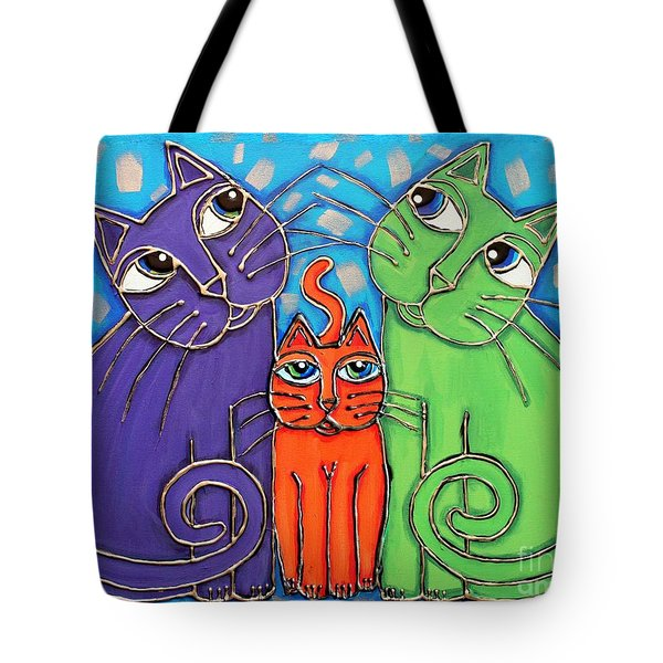 Neon Cat Trio #1 Tote Bag by Cynthia Snyder