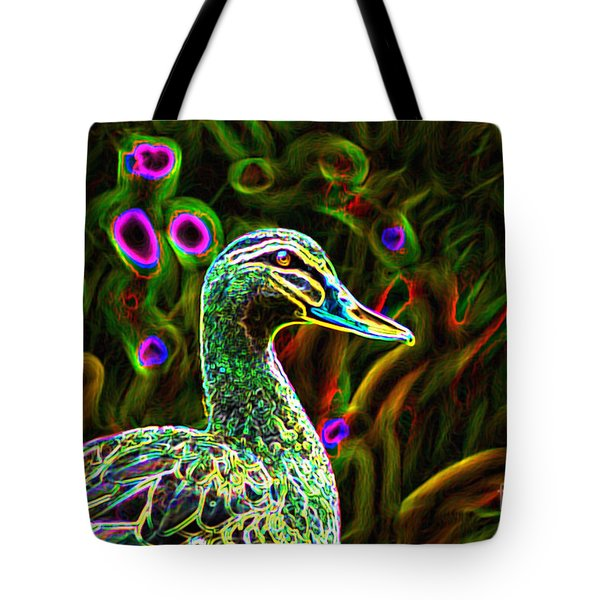 Neon Duck Tote Bag by Naomi Burgess