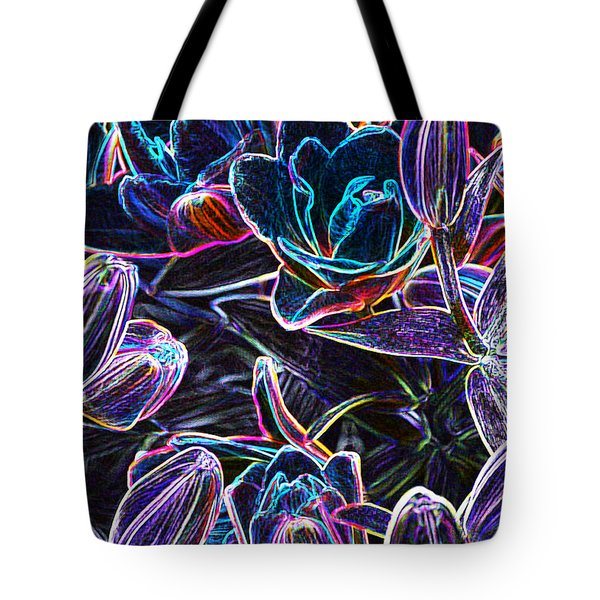 Neon Lilies Tote Bag
