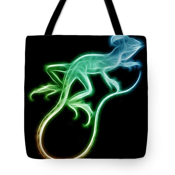 Neon Lizard Tote Bag