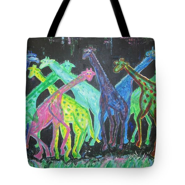 Tote Bag featuring the painting Neon Longnecks by Diane Pape