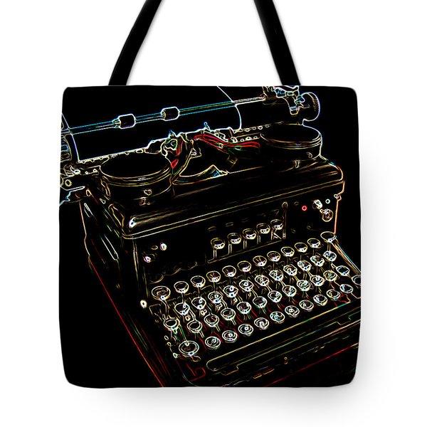 Neon Old Typewriter Tote Bag by Ernie Echols