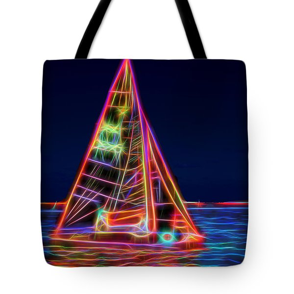 Neon Sailboat Tote Bag