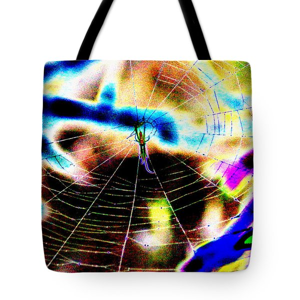 Neon Spider Tote Bag by Kim Pate