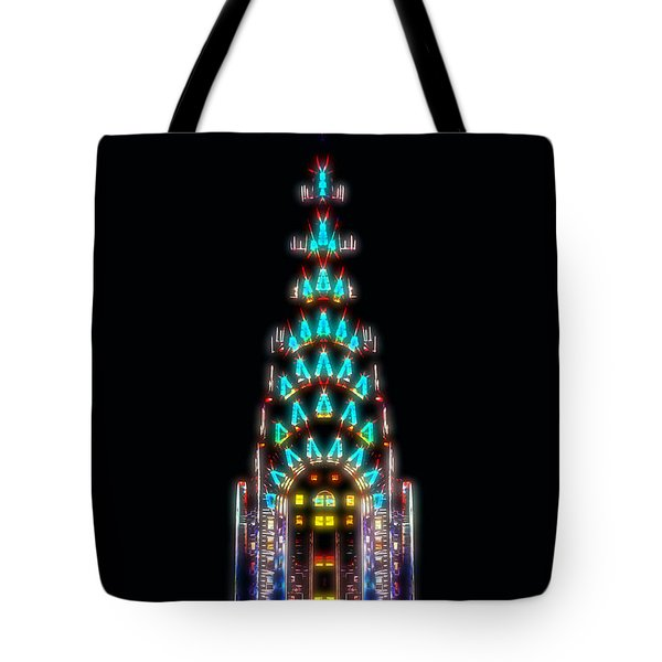 Neon Spires Tote Bag