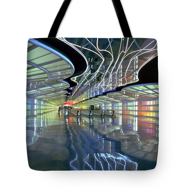Neon Walkway At Ohare Tote Bag by Martin Konopacki
