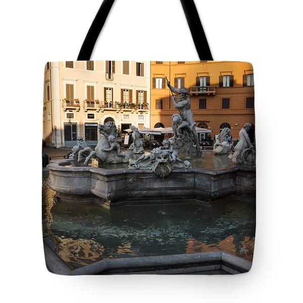 Tote Bag featuring the photograph Neptune Fountain Rome Italy by Georgia Mizuleva