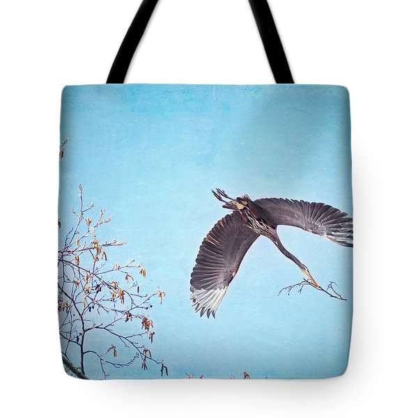 Tote Bag featuring the photograph Nesting Heron by Peggy Collins