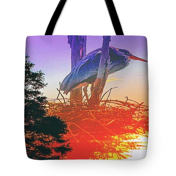 Nesting Heron - Summer Time Tote Bag