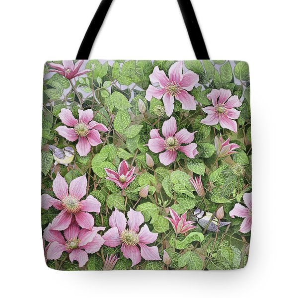 Nesting In Clematis Oil On Canvas Tote Bag