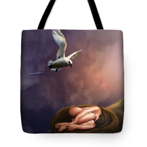 Tote Bag featuring the digital art Nesting Woman by Rosa Cobos