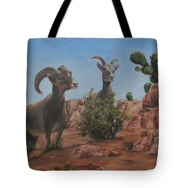 Nevada Big Horns Tote Bag by Roseann Gilmore