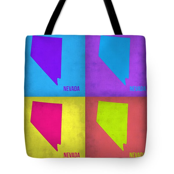 Nevada Pop Art Map 1 Tote Bag by Naxart Studio