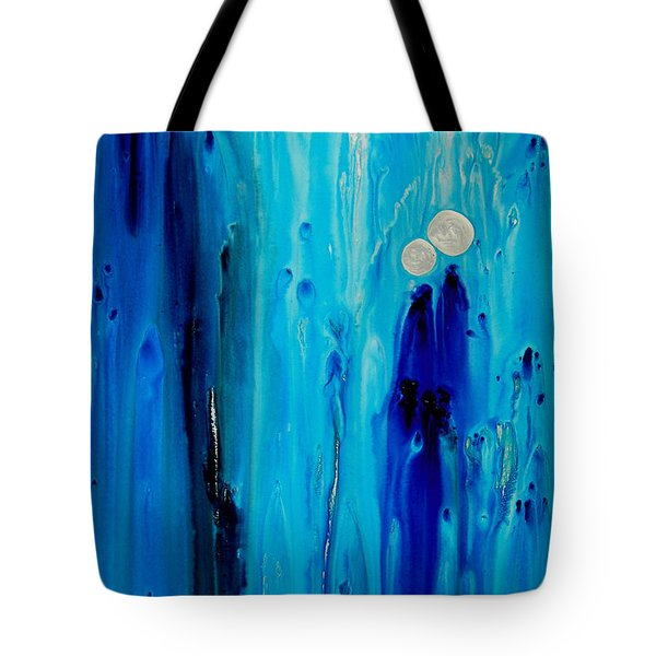 Tote Bag featuring the painting Never Alone By Sharon Cummings by Sharon Cummings