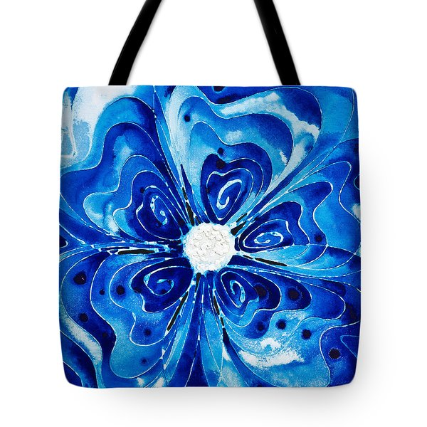 New Blue Glory Flower Art - Buy Prints Tote Bag by Sharon Cummings