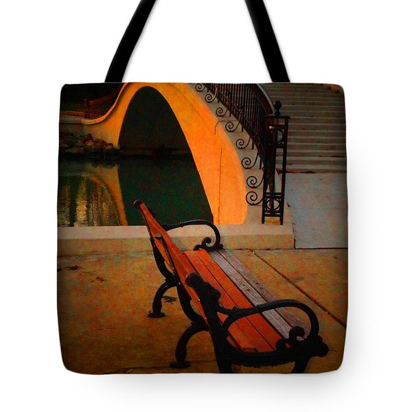 New Bridge And Bench Tote Bag