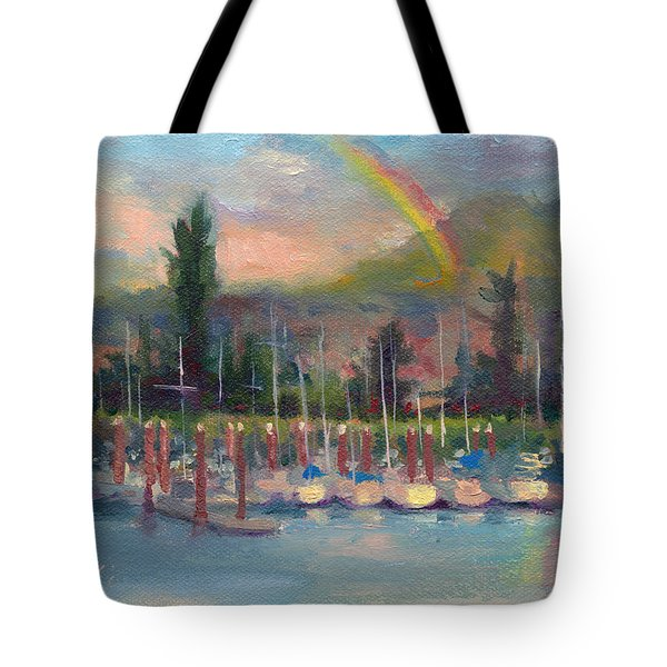New Covenant - Rainbow Over Marina Tote Bag