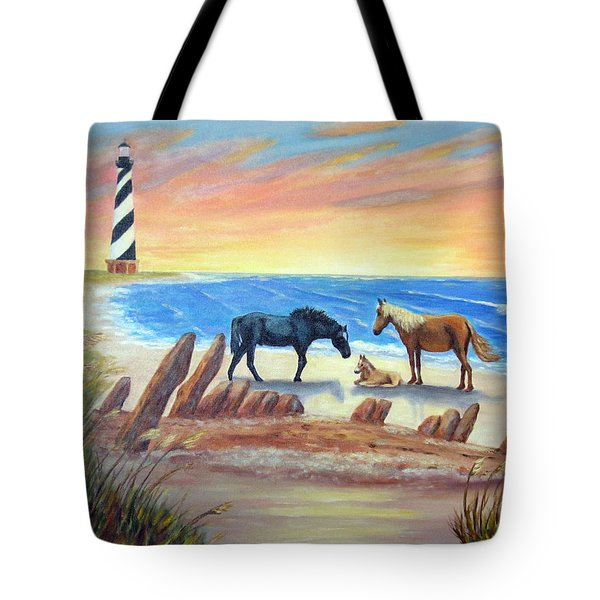 Tote Bag featuring the painting New Day - Hatteras by Fran Brooks