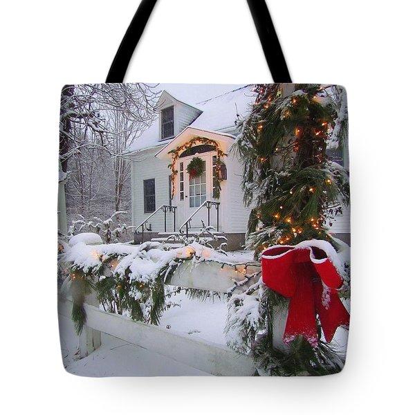 New England Christmas Tote Bag