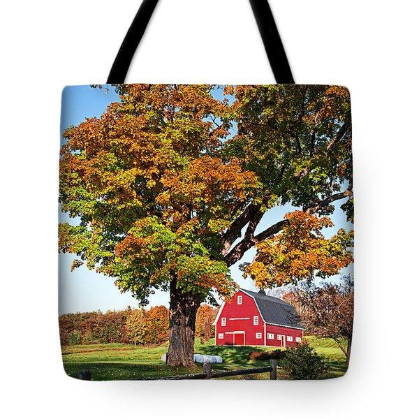 New England Farm Fall Foliage Tote Bag by Edward Fielding